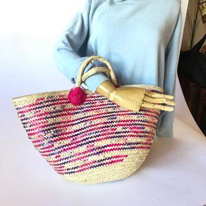Handbags - Pink and Purple Straw Beach Bag